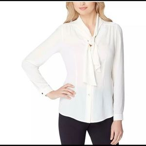Tahari Button Down Blouse w/ Neck Tie and Pleats
